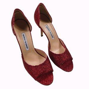 Manolo Blahnik red glitter open toe heels size 39